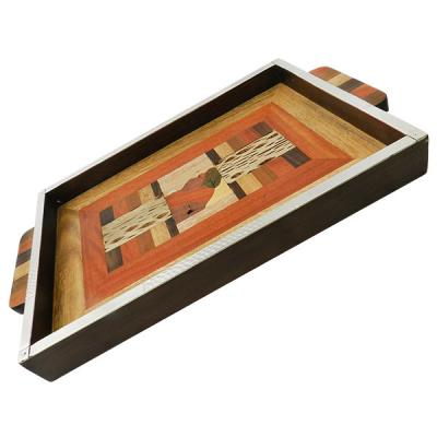 tray in wooden of different colour with detail in nickel silver